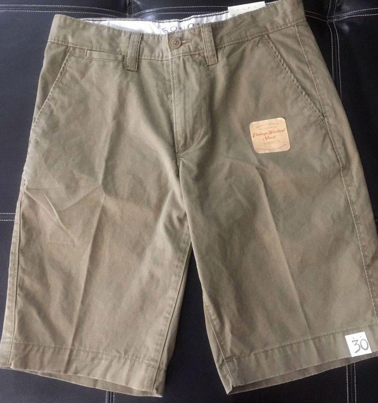 Sonoma Mens Khaki Shorts Sz 30 Flat front Beige Safari Trail Cotton Perfect Fit #Sonoma #KhakiShorts #menssafarikhakis