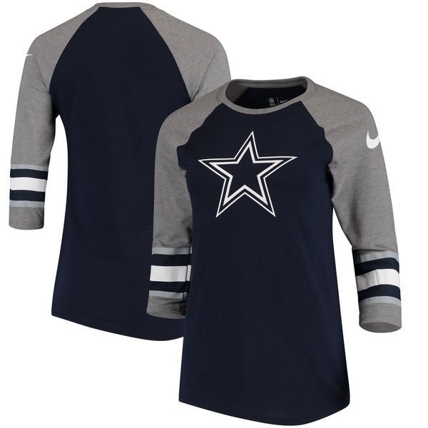 Dallas Cowboys Nike Women's Stripe 3/4-Sleeve Raglan Tri-Blend T-Shirt - Navy