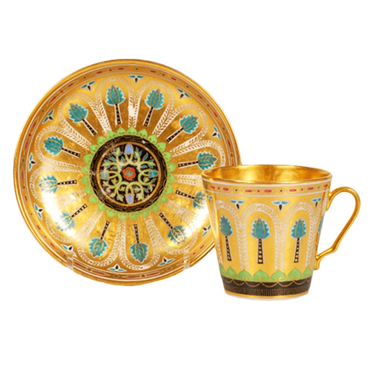 Kremlin Service Porcelain Cup and Saucer by the POPOV FACTORY