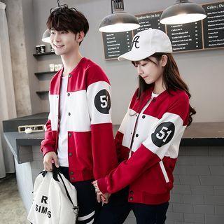 Couple Matching Color Block Baseball Jacket