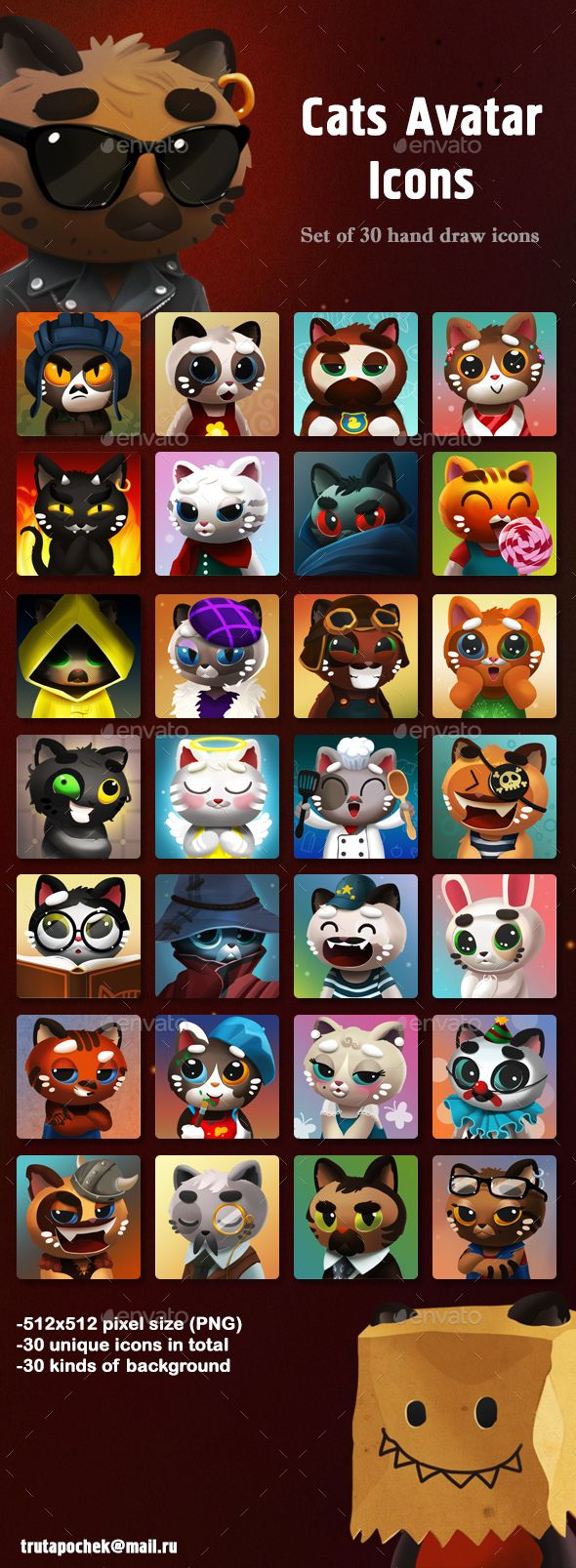 Cats Avatar Icons - Miscellaneous Game Assets | Download: https://graphicriver.net/item/cats-avatar-icons/19973197?ref=sinzo #game #assets