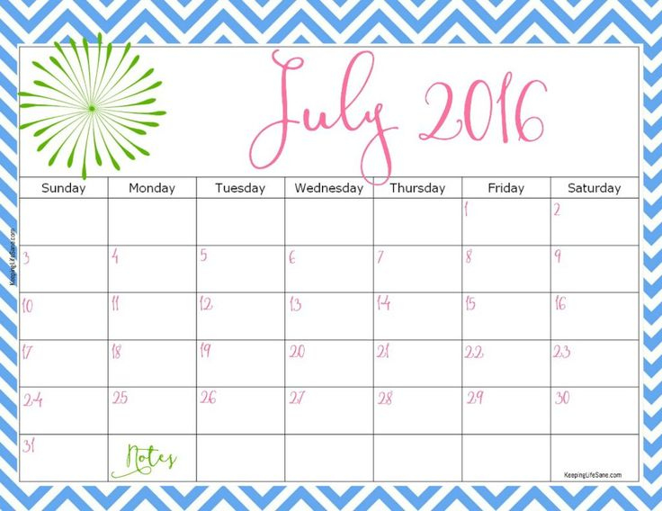 Here's a great July calendar and it's free.  You can get the rest of the year too!! 2016 FREE Printable Calendar
