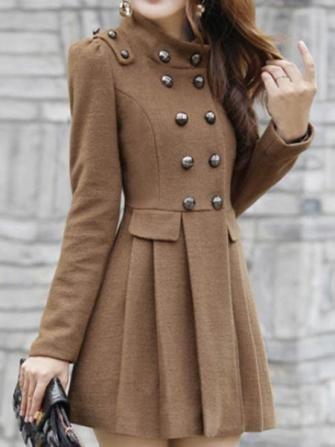 Double Button Slim Elegant Long Sleeve Coat