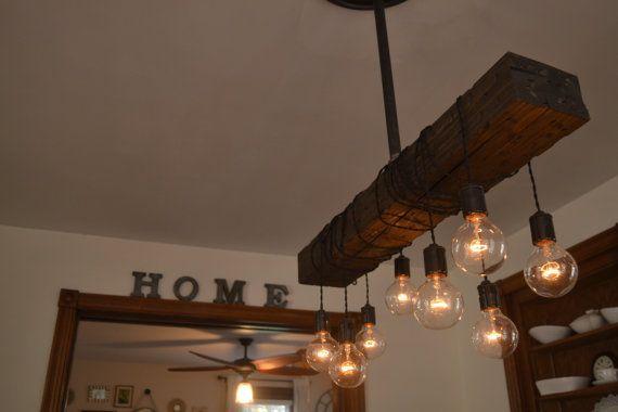350€ GRATIS VERSAND ***  BESCHREIBUNG: Kombination von Holz und Stahl, gibt es keinen Ort, . Der notleidende Holz-Balken sehen Sie im Bild wurde mühsam abgenutzt und gebeizt über eine Woche Zeit. Jedes Holz-Balken hat die gleiche Größe aber alle sind unterschiedlich gehärtet und jeder ist einzigartig. Dieses Licht ist für eine einfache Installation und die 6 von Pendelleitung kommt jedes Licht mit können Sie wickeln die Schnur um die Holzbalken und hängen Sie sie als ho...