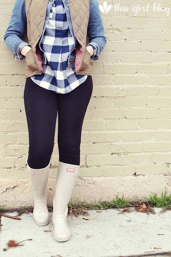 now and laters | this girl blog. Denim and flannel. Hunter boots
