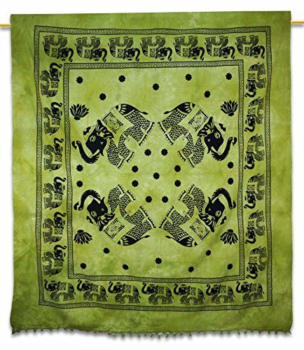 Decorative Green Elephant Print Wall Dcor Tapestry Table Runner Twin Size Bed Cover 94 X 86 Gift Art India * Visit the image link more details.
