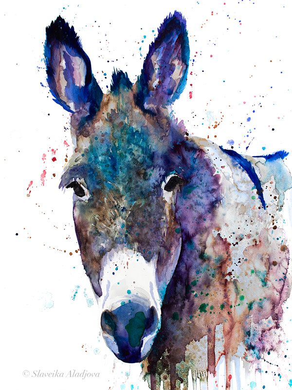 Blue Donkey Watercolor Painting Print By Slaveika Aladjova Art