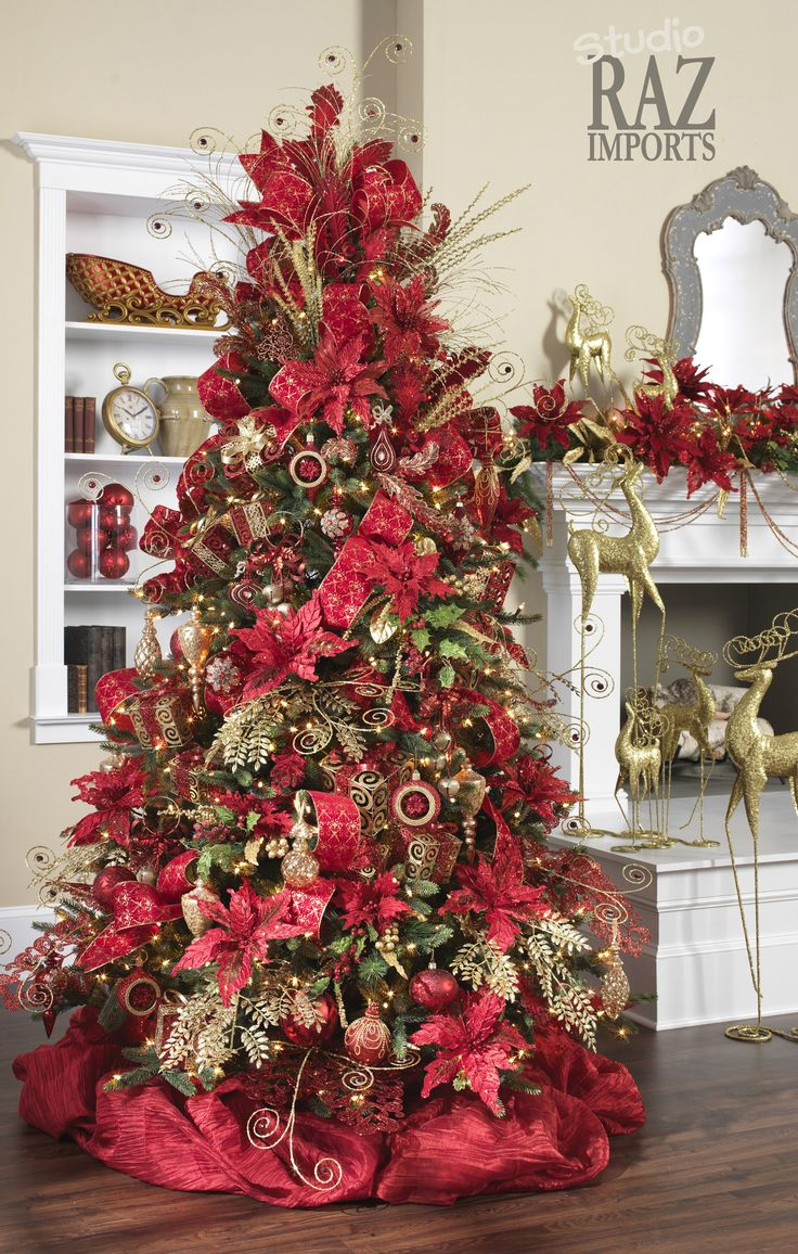 128 best red and gold christmas images on pinterest diy for Red gold christmas tree decorating ideas
