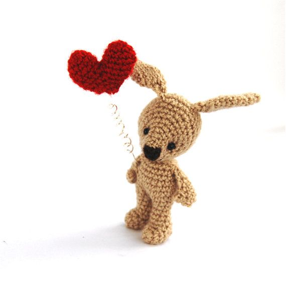 amigurumi small bunny with red heart by tinyworldbycrochAndi, $19.48