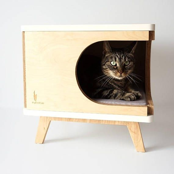 Modern Cat House Made From Plywood In Scandinavian Design Retro