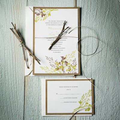 DIY Wedding Invitation & Response Cards. Use double sided tape to affix ivory invitations to cardstock. Stamp as desired.