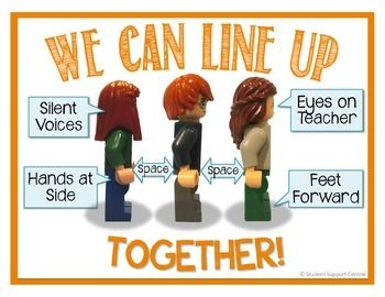 Show your students how to LINE UP with a little help from these LEGO minifigures!  This colorful, quality poster highlights the important aspects of lining up:  1) Eyes on Teacher 2) Feet Forward 3) Hands at Side4) Silent Voices 5) Space Between Post on your door, in the hallway, or laminate and hold up when students are to line up.