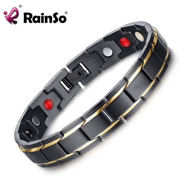 Great Deal $8.60, Buy Rainso Brand Design Fashion Health Energy Bracelet Bangle Men 316L Stainless Steel 4 in 1 Bio Magnetic Bracelets Jewelry 1540