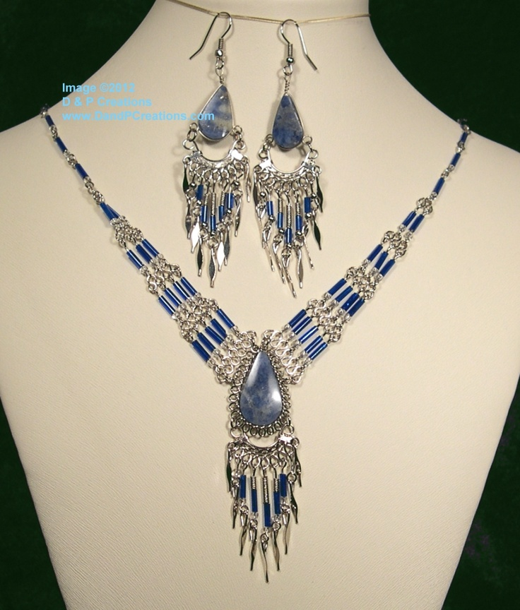 Wear this lovely Peruvian blue lapis and blue bead tube necklace and earrings set to create a unique style to your fashion.  $10.95