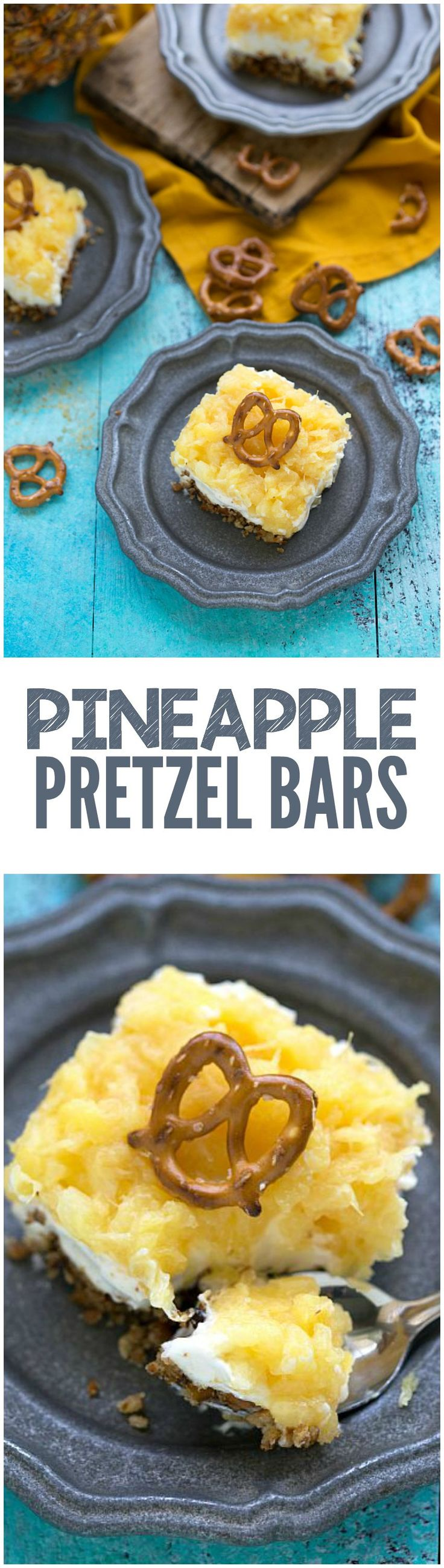 These Pineapple Pretzel Bars are quick and easy and the sweet and salty combo is the best part! Perfect for summer!