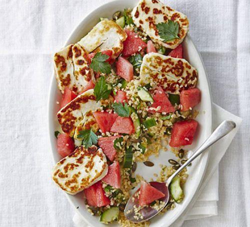 Super summery halloumi & watermelon bulgar salad. Planning to make this with quinoa instead...