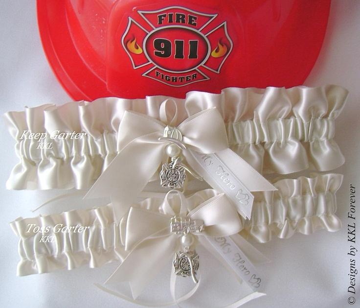 Firefighter Wedding Garters Maltese Cross Charm Light Ivory Satin Garter  Set. $50.00, Via Etsy