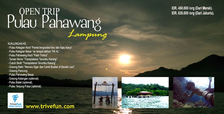 Open Trip Pulau Pahawang Lampung adalah wisata explore pulau yang pantainya indah dan bersih. banyak terumbu terumbu karang yang begitu indah dan cantik. Open Trip Pulau Pahawang Lampung menyimpin berbagai ke indahan alam bawah lautnya.
