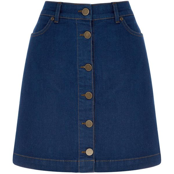 OASIS Buttoned Mini Skirt ($55) ❤ liked on Polyvore featuring skirts, mini skirts, bottoms, denim, blue a line skirt, denim miniskirt, mini skirt, a line skirt and summer skirts