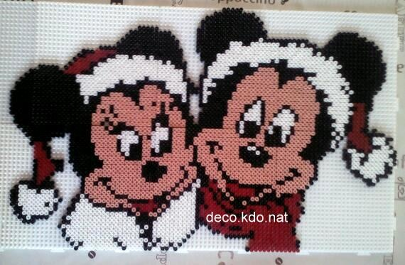 Mickey & Minnie Christmas hama beads by decokdonat