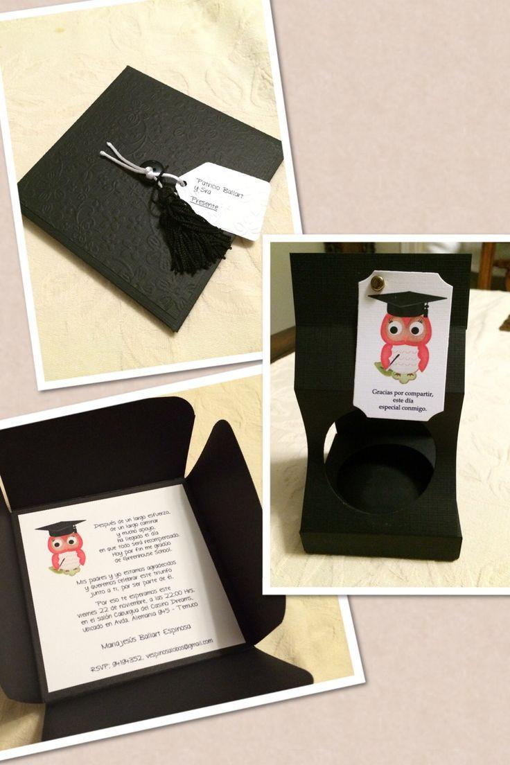 Invitacion a fiesta de graduacion Graduation party invitation  Hecha por/Made by: Victoria Espinosa, Maria Jesus Ballart