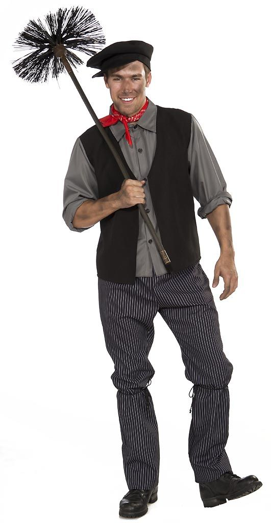 Let out a chim chim cher-ee as you get a little dirty in our Chimney Sweep Adult Costume. It is reminiscent of Dick Van Dyke's character, Bert, from Mary Poppins. Our men's Chimney Sweep Costume includes a black vest with attached gray shirtfront and black newsboy cap. Team up with an English nanny for a great couple's idea. You will be a happy bloke in the ashes and smoke with our Chimney Sweep Costume for adult men.