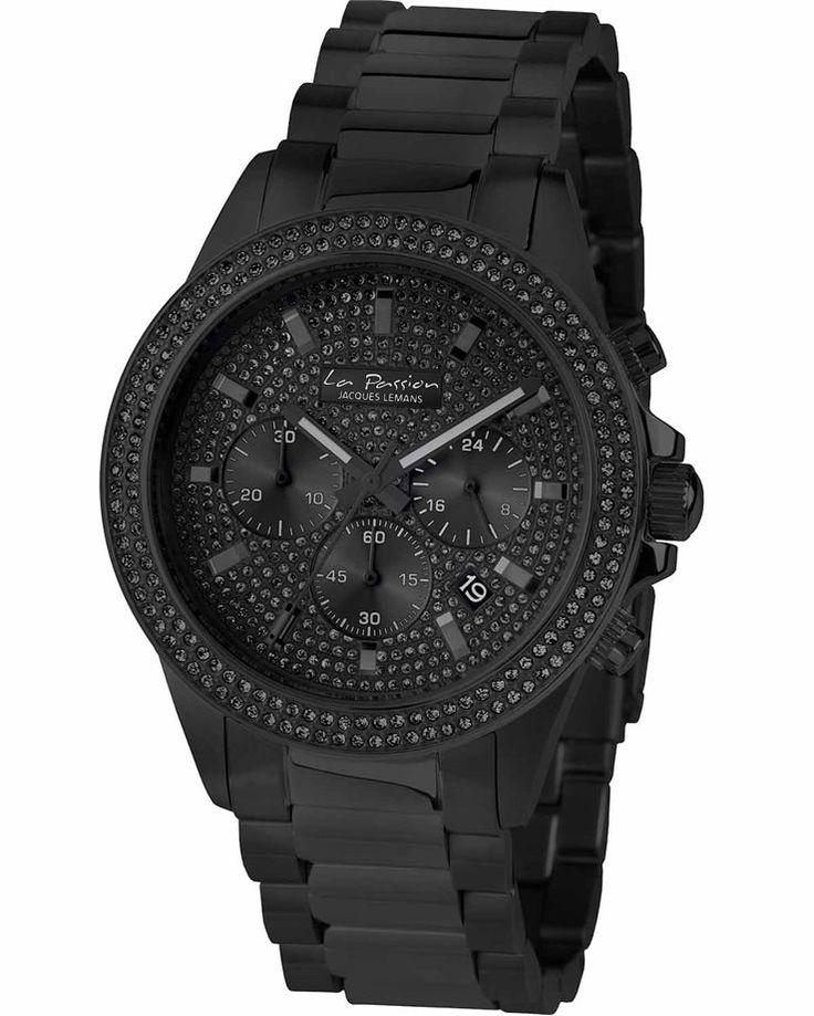 Από τη σειρά La Passion του οίκου Jacques Lemans ένα ρολόι χρονογράφος από μαύρο ανοξείδωτο ατσάλι και μαύρο καντράν