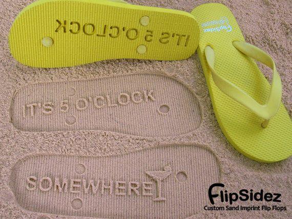 Custom Sand Imprint Flip Flops. Personalize by FlipSideFlipFlops, $19.95