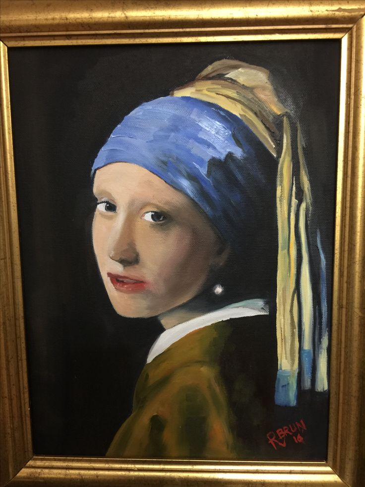 Woman with the pearl earring Rick Brun oil painting copy
