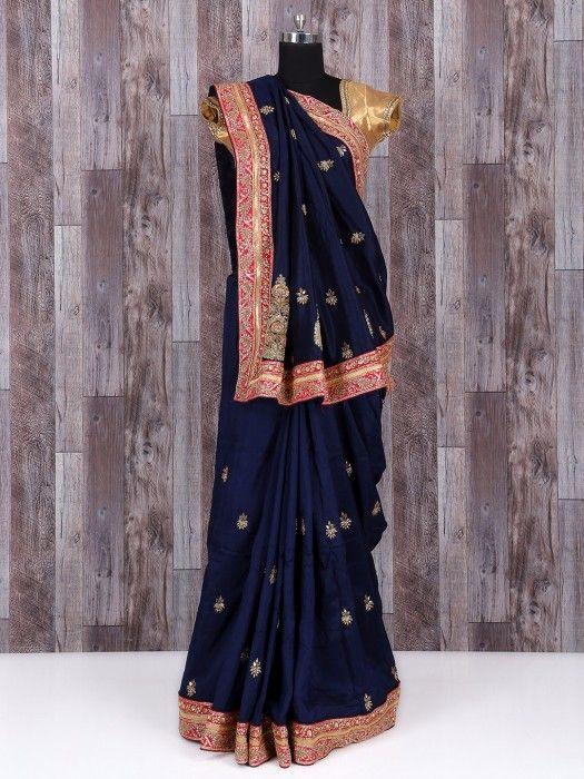 Navy silk party wear royal saree - G3-WSA22644   G3fashion.com
