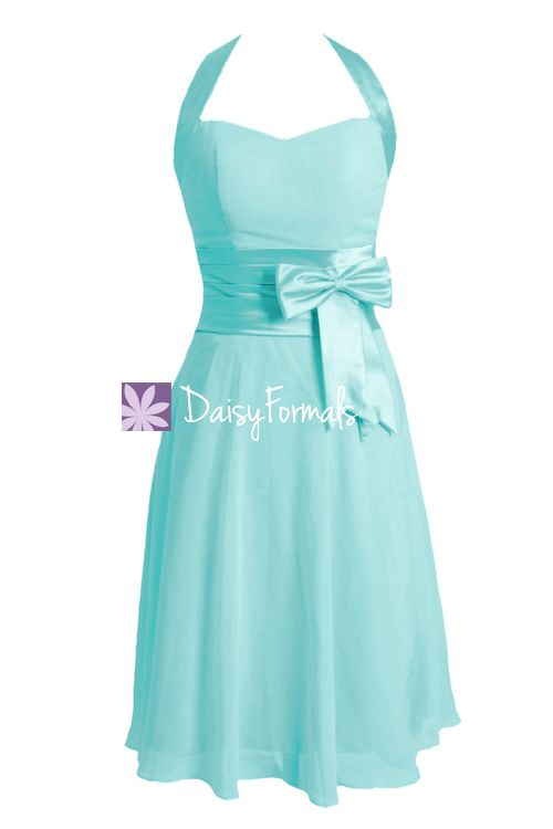Perfect Tiffany Blue Bridesmaid Dress Halter Cocktail Dress Pageant Dress (BM8529)
