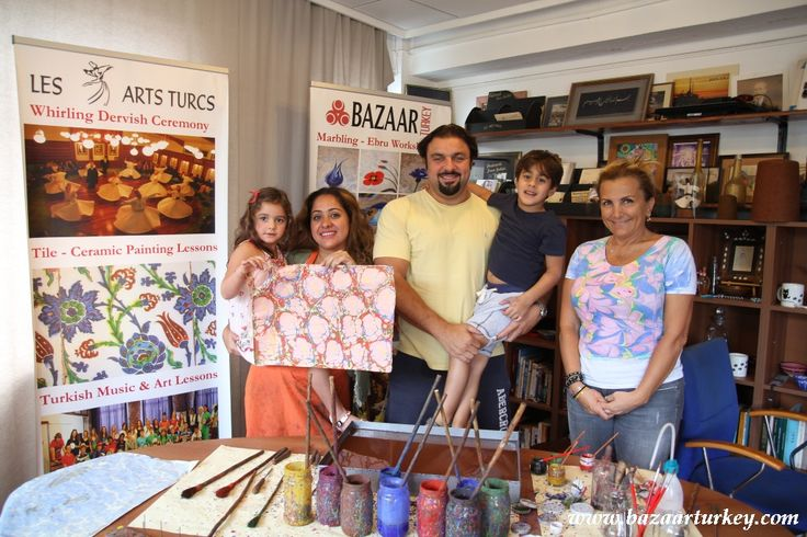 Ebru Class for Beginners in Sultanahmet- Istanbul. Thanks to Nada and her family for joining our lessons. - October 2016 http://bazaarturkey.com/shop/marbling-ebru-class-istanbul