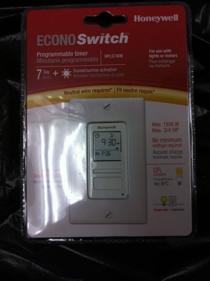 Honeywell ECONO SWITCH PROGRAMMABLE TIMER RPLS740B CFL compatible 7 day sunrise