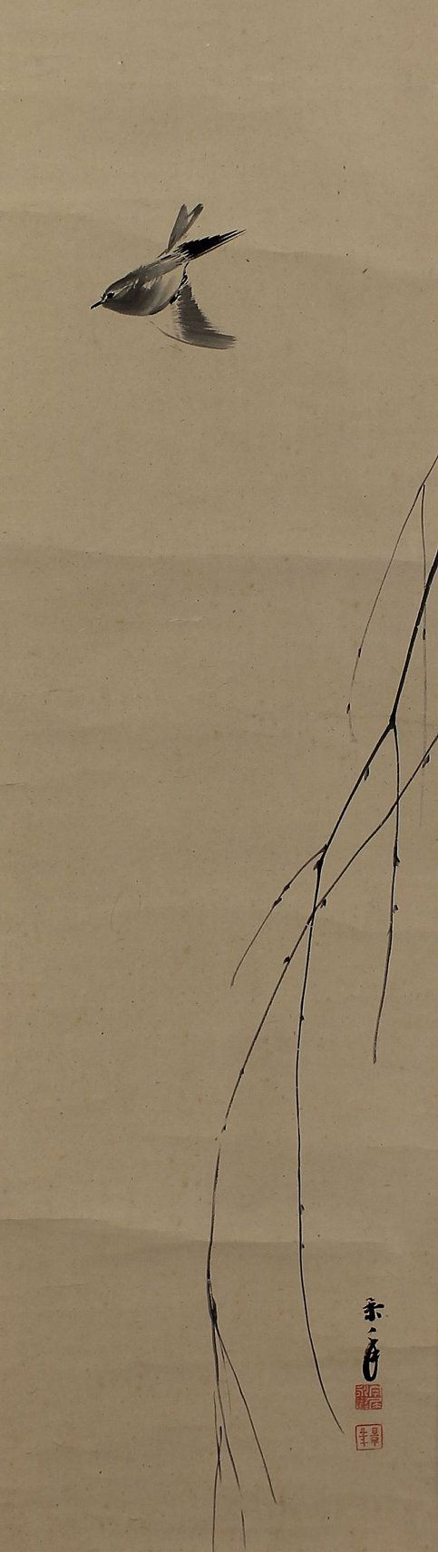 Bush warbler and the Moon. Imao Keinen (1845-1924). Japanese hanging scroll painting.