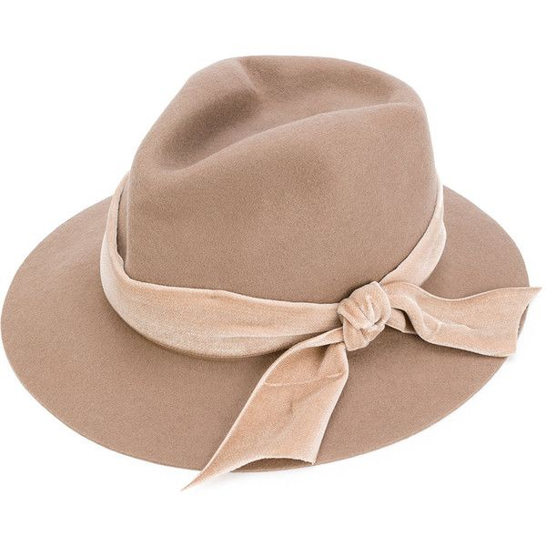 Ca4la classic bow-lined hat ($215) ❤ liked on Polyvore featuring accessories, hats, brown, brown hat, ca4la hats, ca4la, lined hat and bow hat
