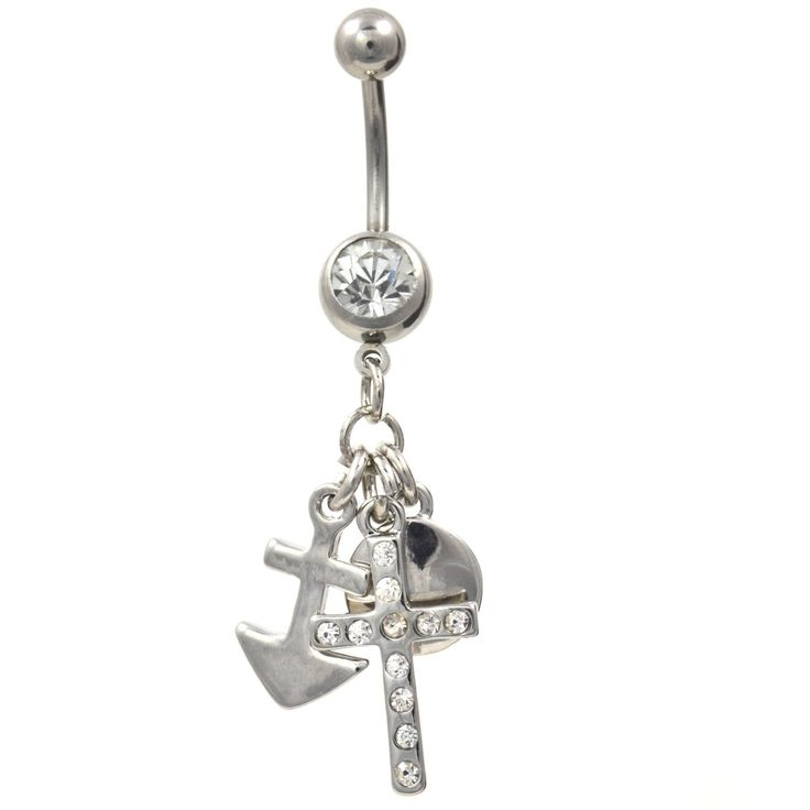 BodyDazz.com - Stainless Steel Cross Moon & Ships Anchor Belly Ring