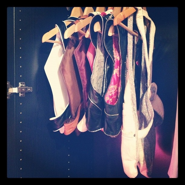 A happy customer's closet filled with MRJ Hands-Free Bags! I spy with my little eye 4 Butterflyboxes, 2 Rocker Gunholsters, and one custom made denim HFbag! Vienna, Austria