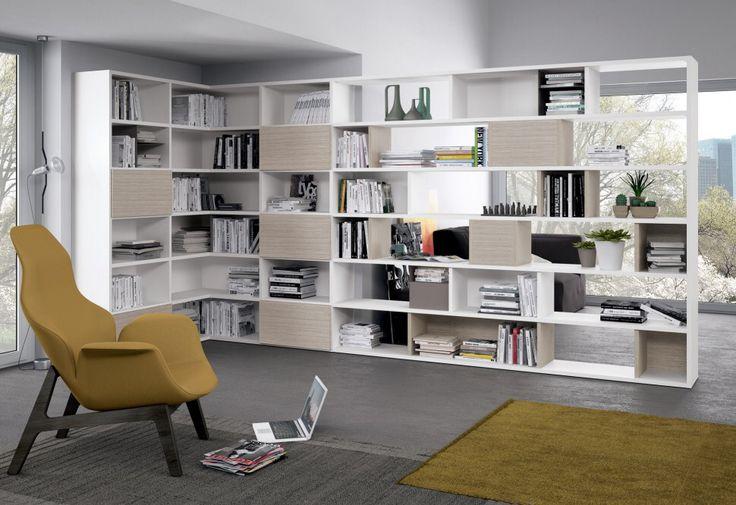 comp. G508 #libreria #casa o #ufficio sviluppata in modalità angolare e in parte monofacciale ed in parte bifacciale.