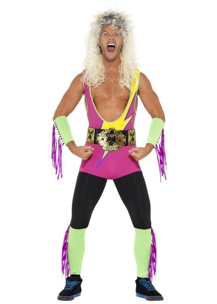 Retro Pro Wrestler Men Costume