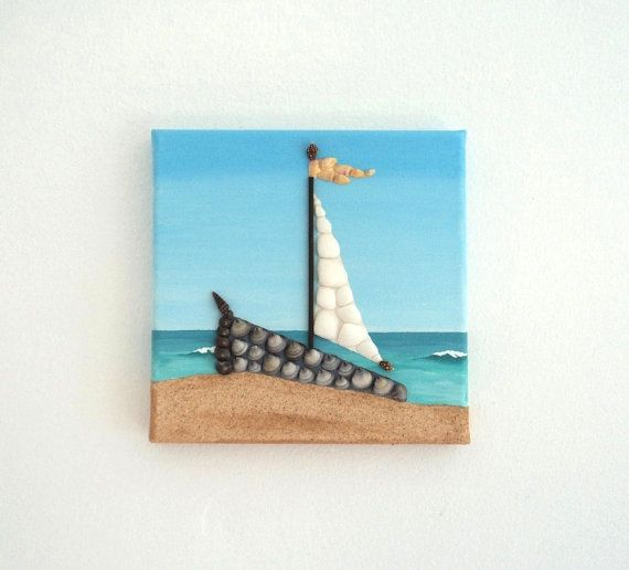 Acrylic Painting, Beach Artwork with Seashells and Sand, Small Sailboat in Seashell Mosiac on Sand, Mosaic Art, 3D Art Collage, Wall Decor, Home Decor #ArtworkwithSeashells #mosaiccollage #seashellmosaic #homedecor #walldecor #3D
