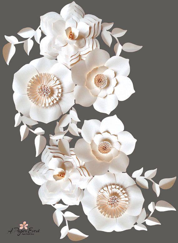 Papel flor telón de fondo, centro de mesa boda, bebé ducha telón de fondo, Telón de fondo de boda