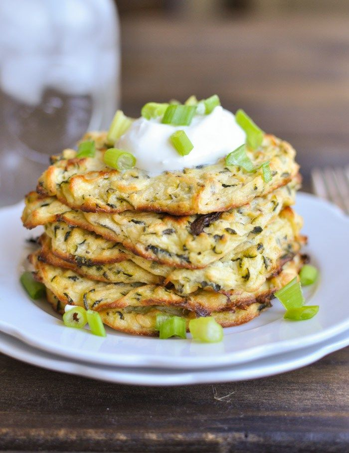 Baked Zucchini Fritters (Goat cheese too!)  89cal and 7g of protein each!
