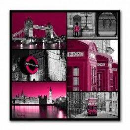 Tableau Mosaïque Londre Rose 70 x 70 cm. Imprimé en haute définition sur toile canvas 100% coton. Chassis à clé en sapin. Fabrication Française. Livraison : 7 jours.