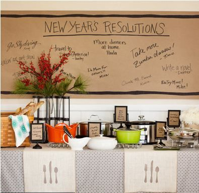 6 new year s eve party ideas, seasonal holiday d cor, Potluck Summon the neighbors to a relaxed potluck dinner where everyone contributes Have guests write dish names on brown kraft paper slipped into footed frames a paper wall banner displays their resolutions