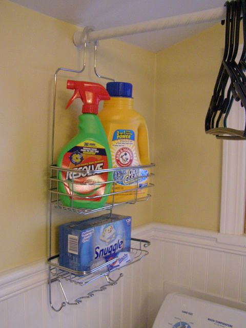 Bottles of laundry detergent, bleach, and dryer sheets fit perfectly together in this shower caddy. Plus, it hangs conveniently from your drying rack (honestly, it's almost too easy). See more at Just Seven »