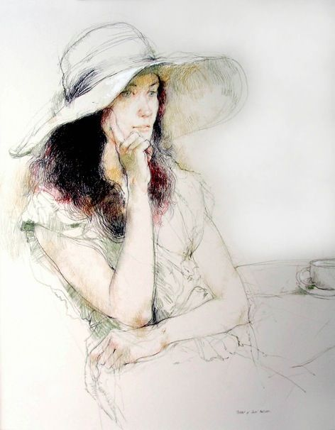 Victor Ambrus Drawings from Life - Carol's Hat