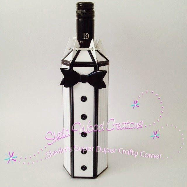 Black tie editable, printable wine bottle gift box cover