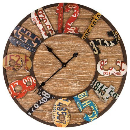 Repurposed Metal And Wood Wall Clock - Vintage License Plate Design