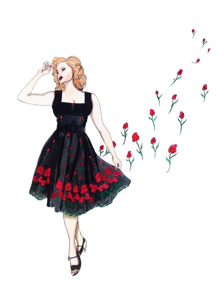 Vestido Saida. Por Andres Ruiz Ilustrador. http://www.facebook.com/pages/Anita-Singers/565541916806170