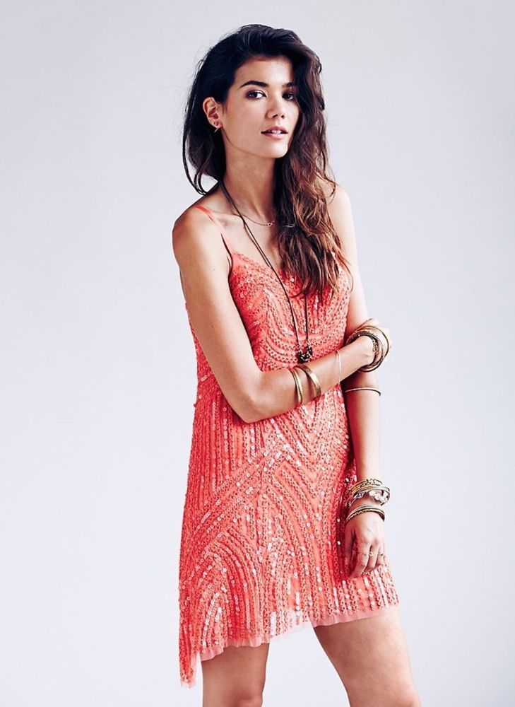 NWOT $198 Free People coral pink Beaded Cocktail Dress 12 #FreePeople #sequincocktaildress #Cocktail